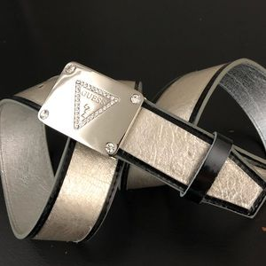 Guess | Silver Logo Belt Faux Leather Large  N01
